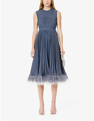 Huishan Zhang Jane feather-trimmed pleated woven midi dress