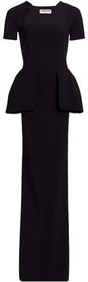 Chiara Boni Odezia Short-Sleeve Peplum Gown