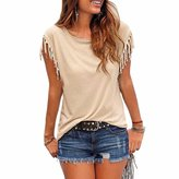 Paixpays Summer New Women Fashion Tassel Short Sleeves T-Shirt Casual Shirts Tops Blouse