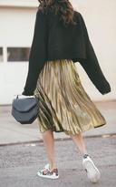 Ily Couture Metallic Gold Pleated Skirt