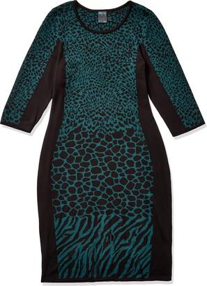 Gabby Skye Women's Plus Size 3/4 Sleeve Scoop Neck Sheath Sweater Dress