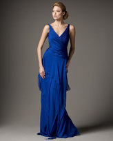 Surplice Tiered-Skirt Gown