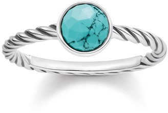 Thomas Sabo Women-Ring Glam & Soul 925 Sterling silver blackened simulated Turquoise Sz. P 1/2 TR2130-878-17-56