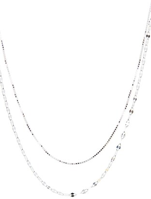 Argentovivo Sterling Silver Double Layer Bean Chain Necklace