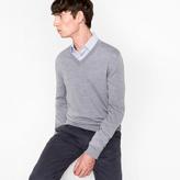Paul Smith Men's Grey Merino Wool V-Neck Sweater