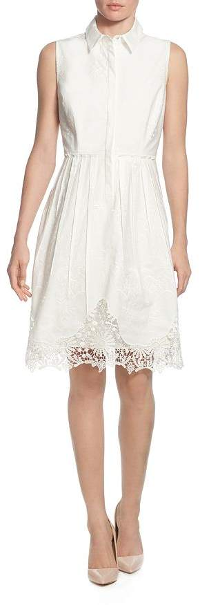 T Tahari Sleeveless Embroidered Shirt Dress