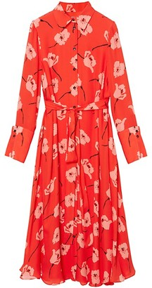 Carolina Herrera Tie Waist Floral Silk Shirtdress