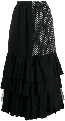 Junya Watanabe contrast panel ruffle skirt