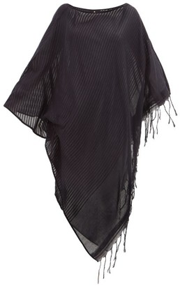 SU PARIS Syama Tasselled Cotton Kaftan - Black
