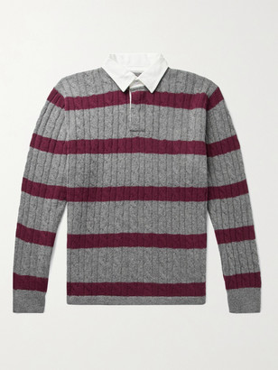 Beams Twill-Trimmed Striped Cable-Knit Wool-Blend Sweater