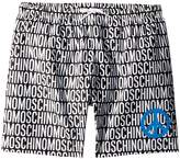 Moschino Kids - All Over Logo Print Swim Shorts w/ Peace Sign