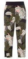 Dorothy Perkins Woblush And Khaki Cropped Big Leaf Print Trousers- Pink