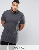 Asos PLUS Longline Muscle Polo Shirt In Charcoal Marl