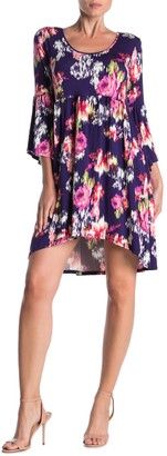 Loveappella Floral High/Low Bell Sleeve Dress