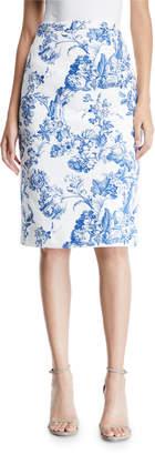Oscar de la Renta Toile Print Pencil Skirt