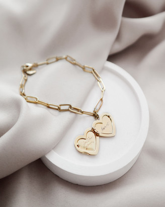 Wanderlust + Co Heart Gold Locket Bracelet