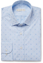 Etro Blue Slim-fit Embroidered Polka-dot Cotton-poplin Shirt - Light blue
