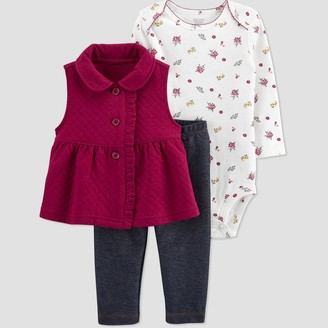 Just One You Made By Carter's Baby Girls' Floral Vest Top & Bottom Set - Just One You® made by carter's Rich Maroon/White/Blue