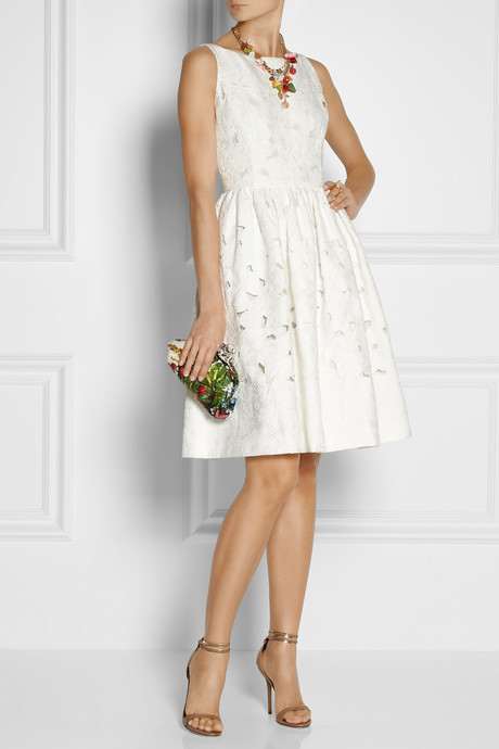 Dolce & Gabbana Cutout floral-brocade dress