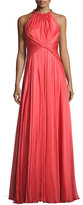Carmen Marc Valvo Sleeveless Shirred Silk Gown, Coral