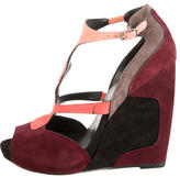 Pierre Hardy Suede Peep-Toe Wedges w/ Tags