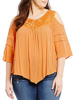 Democracy Plus Cold-Shoulder Embroidery Top