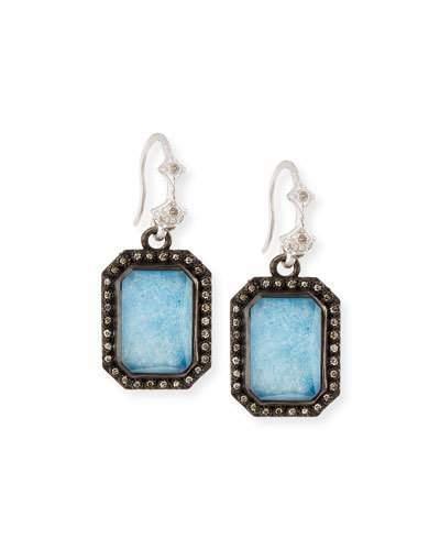 Armenta New World Emerald-Cut Blue Quartz Triplet Earrings with Diamonds