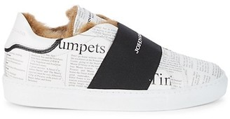John Galliano Printed Faux Fur-Lined Sneakers