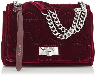 Jimmy Choo HELIA SHOULDER BAG/S Bordeaux Velvet Shoulder Bag with Chain Strap