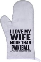 Designsify Husband Oven Mitt, I Love My Wife More Than Paintball ...Yes, She Bought Me This - Oven Mitt, Heat Resistant Oven Glove, Unique Gift Idea for Birthday, Men, Lover