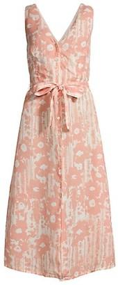 120% Lino Desert Floral Print V Neck Button Front Dress