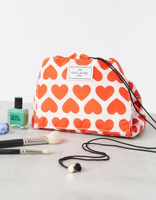 Flat Lay Company Flat Lay Co drawstring make up bag in heart print