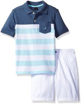 Nautica Little Boys' Pieced Polo Shirt with Solid Flat Front Short Set