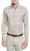 Ermenegildo Zegna Baby Flannel Long-Sleeve Sport Shirt, Brown