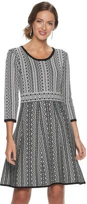 Nina Leonard Women's Print Fit & Flare Sweater Dress