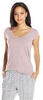 Velvet by Graham & Spencer Women's Slub V-Neck Cap-Sleeve T-Shirt