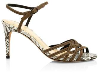 Alexandre Birman Berthe Python & Leather Strappy Heels