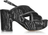 Robert Clergerie Emelinet Black Velvet Wedge Sandals