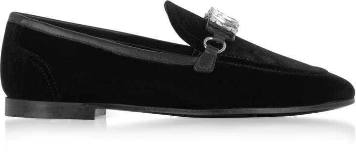 Giuseppe Zanotti Black Velvet Loafers w/Crystals