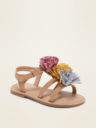 Old Navy Faux-Suede Tassel-Flower Sandals for Toddler Girls