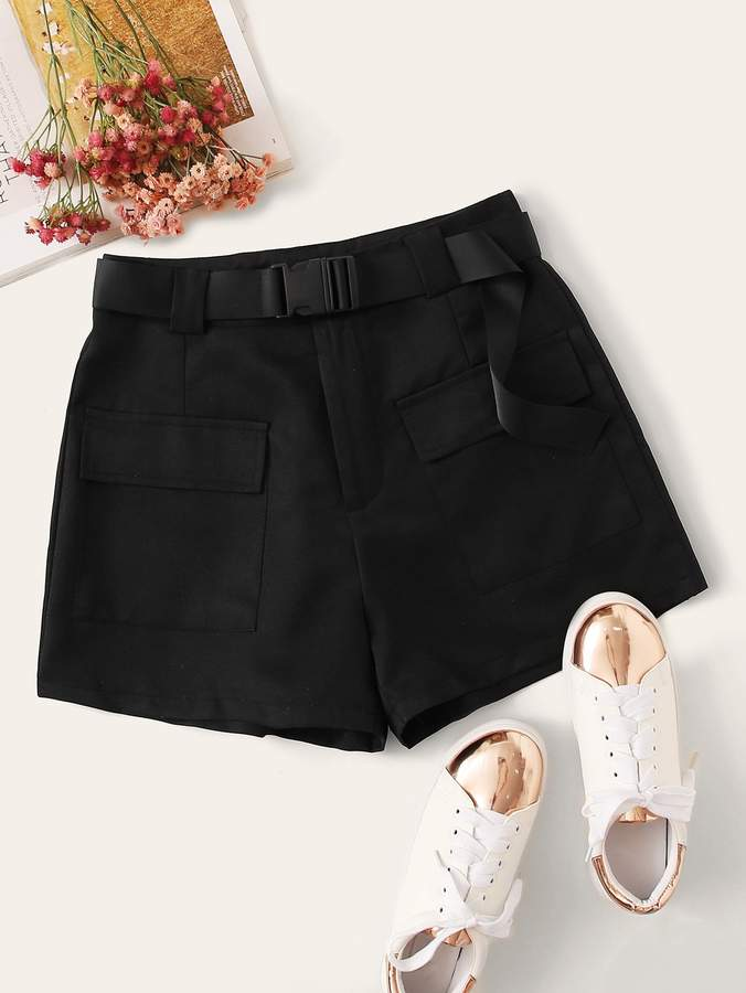 Shein Flap Pockets Buckle Belted Cargo Shorts