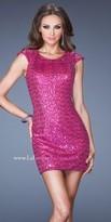 La Femme All-Over Sequin Cap Sleeve Mini Cocktail Dresses