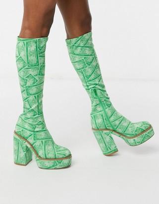 ASOS DESIGN Casey platform knee boot in green money print