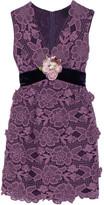 Anna Sui Camilla Velvet-trimmed Crocheted Lace Mini Dress - US12