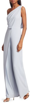 Halston Draped One-Shoulder Jumpsuit