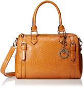 MG Collection Faux Snakeskin Bowling Convertible Top Handle Bag