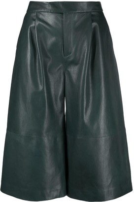 Closed Leather Wide Leg Shorts