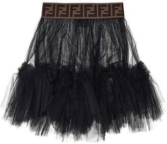 Fendi Kids FF tulle skirt
