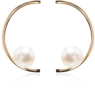 Mateo 14k Yellow Gold Half Moon Pearl Earrings