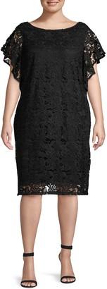 Marina Plus Flutter-Sleeve Lace Dress